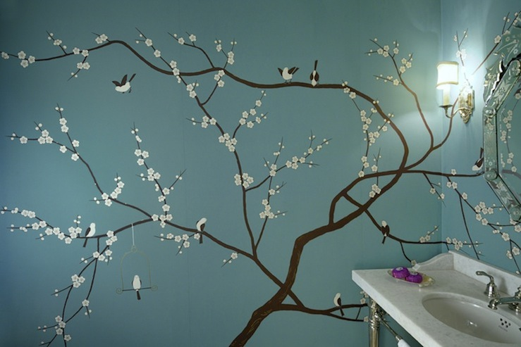 Powder room wall mural transitional bathroom for Cherry blossom tree mural