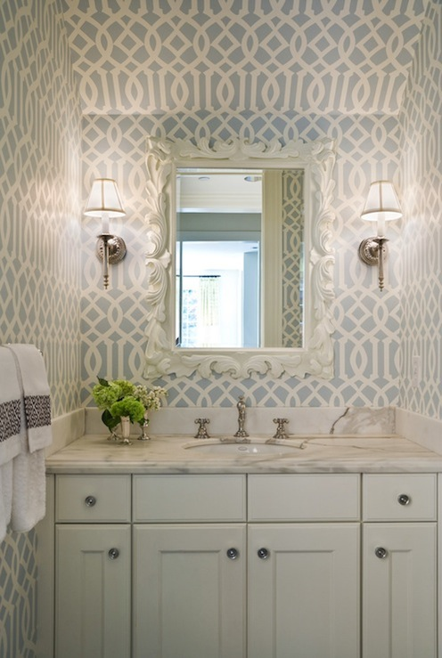 bathrooms - Kelly Wearstler Imperial Trellis Wallpaper - Soft Aqua white ornate mirror white bathroom cabinet vanity calcutta gold counter top polished nickel sconces faucet