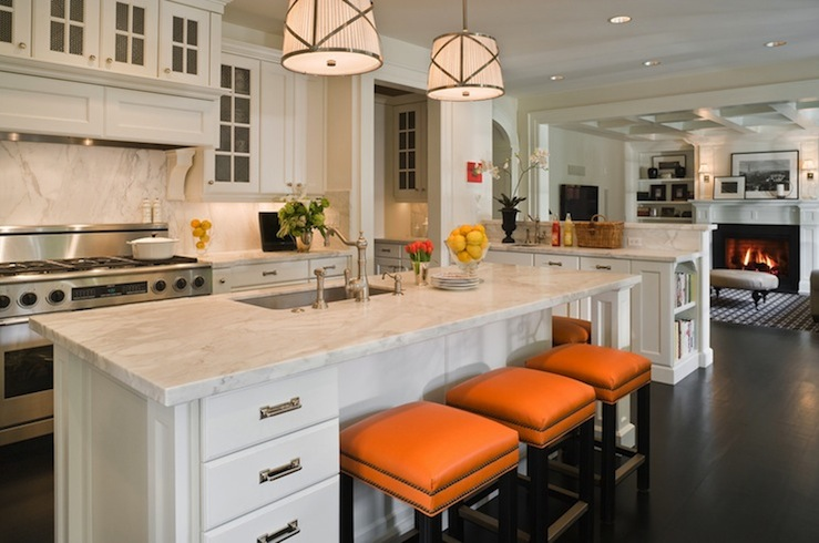 Orange Bar Stools Transitional Kitchen Graciela