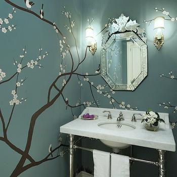 Cheery Blossom Wall Mural, Contemporary, bathroom, Graciela Rutkowski Interiors