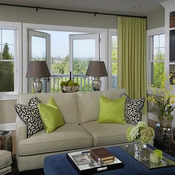 Graciela Rutkowski Interiors - living rooms - chartreuse curtains, chartreuse drapes, silk chartreuse curtains, silk chartreuse drapes, beige sofa, beige loveseat, 2 cushion sofa, blue ottoman,