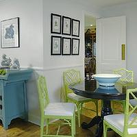 Graciela Rutkowski Interiors - dining rooms - blue, zen, Asian, cabinet, gray, walls, chair rail, glossy, black, pedestal, table, green, faux bamboo, chippendale, botanical, art gallery, bamboo chairs, green bamboo chair, green bamboo chair, green faux bamboo chairs, bamboo chair, Jonathan Adler Chippendale Chair,