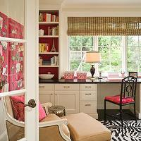 Graciela Rutkowski Interiors - dens/libraries/offices - pink, bulletin boards, gray, ribbon trim, white, desk, pink, built-ins, black, chair, pink, cushion, white, black, zebra, rug, tan, leather, chair, ottoman, nailhead trim, silver, garden stool, built-in desk, Bungalow 5 Chloe Side Chair, Oly Studio Hanna Chair,