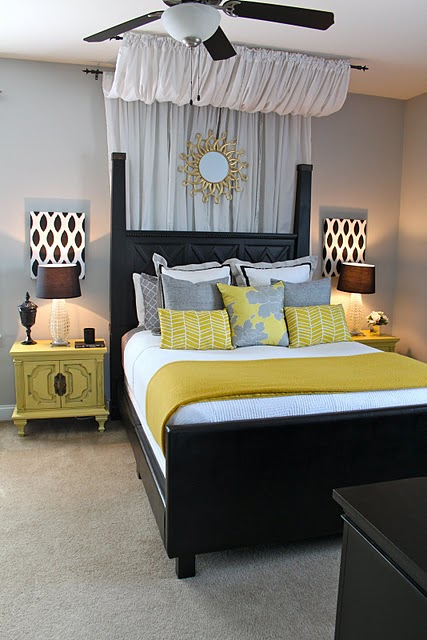 bedrooms - Sherwin Williams - Knitting Needles - master bedroom, yellow, black, gray, starburst,  dwellingsbydevore.com