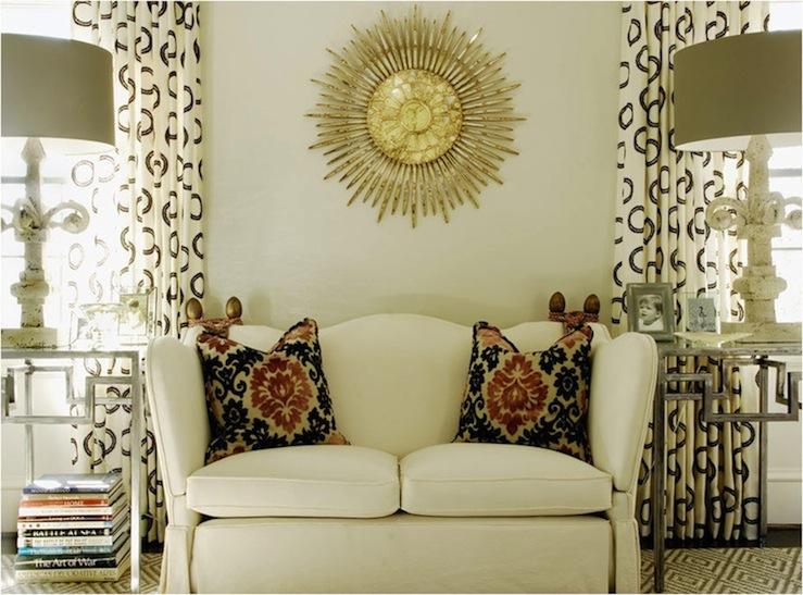 Gold Sunburst Mirror Transitional Living Room