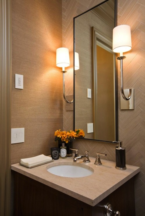 Herringbone Backsplash Contemporary Bathroom Sutton