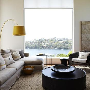 Hare & Klein - living rooms - coffee table, sectional, sectional sofa, gray sectional, gray sectional sofa, slipcovered sectional, slipcovered sectional sofa, gray slipcovered sectional, gray slipcovered sectional sofa, yellow floor lamp, arc floor lamp, yellow arc floor lamp,