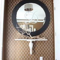 Dwellings by Devore - entrances/foyers - Sherwin Williams - Burnished Brandy - entryway, stencil, monogram, branch, chandelier,  foyer
