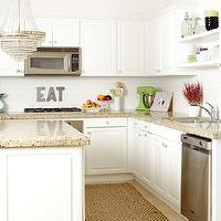 Me oh my! - kitchens - white, kitchen cabinets, corian, countertops, white, kitchen island, crystal chandelier, glossy, subway tiles, backsplash,
