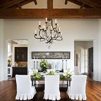 Sutton Suzuki Architects - dining rooms - ruffled dining chairs, slipcovered dining chairs, white riffled dining chairs, white slipcovered dining chairs, vaulted ceiling,
