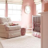 Me oh my! - nurseries: white, roman shades, green, ribbon trim, pink, walls, white, crib, pink, crib bedding, pink, slipcovered, glider, wool rug, white, ornate, mirror, white, butterflies, baby, mobile,