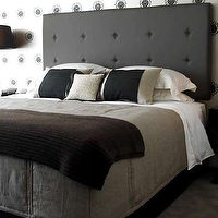 Hare & Klein - bedrooms - black, tall, tufted, headboard, white, black, wallpaper, gray, black, bedding, black, nightstands, stacked ball, crystal, lamps, black, lamp shades, black tufted headboard, black headboard, tufted headboard,