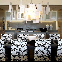 Hare & Klein - dining rooms - white, black, French, script, Parsons, dining chairs, glossy, black, rectangular, dining table, paper, chandelier, pendant,