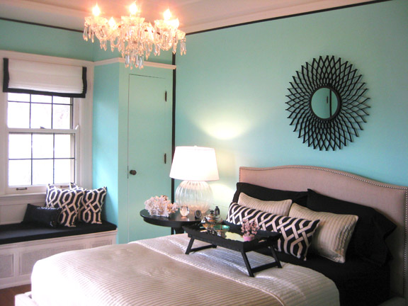 Amy Carman Design - bedrooms - Benjamin Moore - Coastal Paradise - Tiffany Blue, Amy Carman Design, Benjamin Moore Coastal Paradise, Crate & Barrel Colette Bed, Tiffany Blue walls, Tiffany Blue Bedroom,
