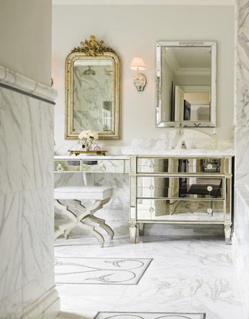 Double Bathroom Vanity on Vanity  Mirrored Bathroom Vanity  Carrie Hayden Marble Bathroom