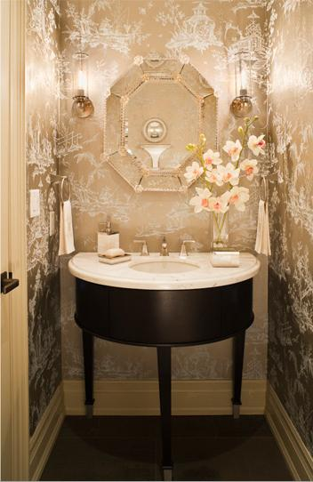 bathrooms - glamorous powder room, chinoiserie wallpaper, metallic wallpaper, chinoiserie metallic wallpaper, silver metallic wallpaper, silver chinoiserie wallpaper, half moon vanity, half moon bathroom vanity, demilune vanity, demilune bathroom vanity, half moon washstand, powder room, powder room wallpaper, small powder room,