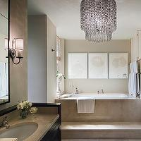 bathrooms - contemporary, sexy, chandelier, neutral, taupe,  Mona Hajj  Sleek, sexy bathroom