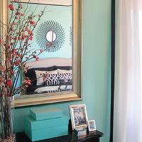 Amy Carman Design - bedrooms - Tiffany blue bedroom, Amy Carman, Amy Carman Design, Wisconsin Breast Cancer Showhouse, Tiffany blue, Milwaukee Breast Cancer Showhouse, Tiffany blue wall color, tiffany blue bedroom, tiffany blue boxes,