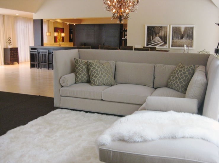 gray sectional contemporary living room farrow ball dimity amy carman design. Black Bedroom Furniture Sets. Home Design Ideas