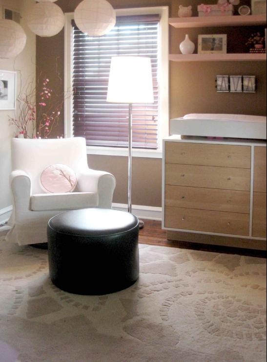 Amy Carman Design - girl's rooms - Sherwin Williams - Nuthatch - modern girls nursery, girls nursery, girls room ideas, Amy Carman, Amy Carman Design, Sherwin Williams Nuthatch, pink IKEA shelving, taupe nursery, taupe walls, taupe paint color, taupe nursery walls, taupe nursery paint color,
