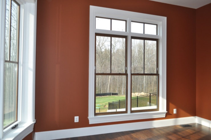 dens/libraries/offices - Benjamin Moore - Warmed Cognac - window, transom, office,  office in our new house