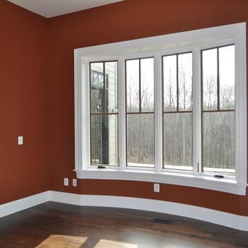 dens/libraries/offices - Benjamin Moore - Warmed Cognac - bow window, office,  office in our new house