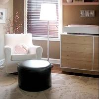 Amy Carman Design - girl's rooms - modern girls nursery, girls nursery, girls room ideas, Amy Carman, Amy Carman Design, Sherwin Williams Nuthatch, pink IKEA shelving, taupe nursery, taupe walls, taupe paint color, taupe nursery walls, taupe nursery paint color,