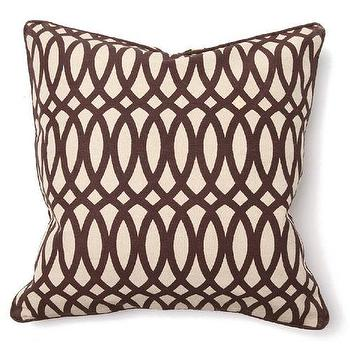 Pillows - Second Nature Geo Print Brown Pillow - brown, trellis, pillow