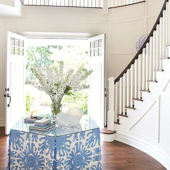 Amanda Nisbet Design - entrances/foyers - foyer table, skirted foyer table, hex table, foyer table, round foyer, circular foyer,  Stunning foyer