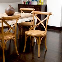 Seating - Cross-Back Light Brown Birch Dining Chair | Overstock.com - x-back, cafe chair