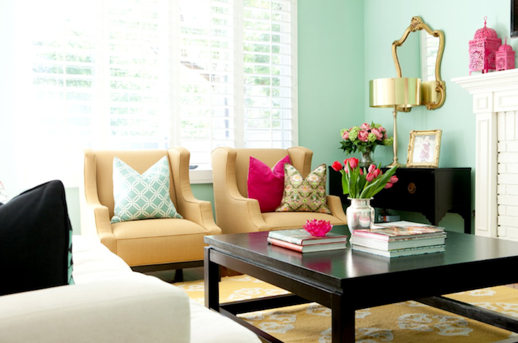 Belmont Design Group - living rooms - yellow, medallion, rug, glossy, black, square, Asain, coffee table, chest, cabinet, console, blue, green, walls, camel, linen, wingback, chairs, blue, Braemore, joy, fabric, pillow, fuchsia, velvet, pillow, gold, ornate, mirror, lamp, pink, lanterns,