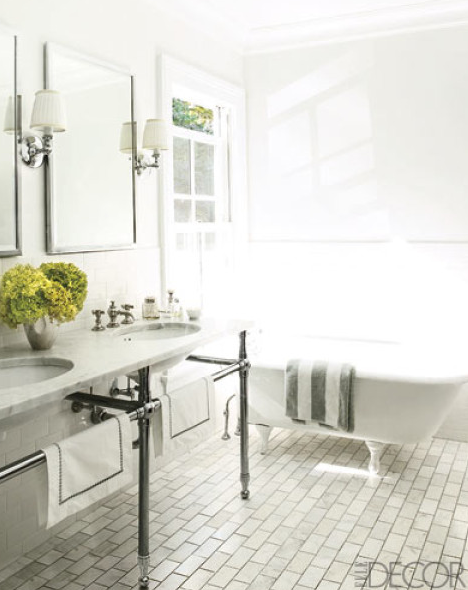 Elle Decor - bathrooms - claw-foot tub, brick pattern tiles floor, brushed nickel, marble, washstand, double sinks, white, gray, striped, towel, polished nickel, sconces, silver, mirrors,