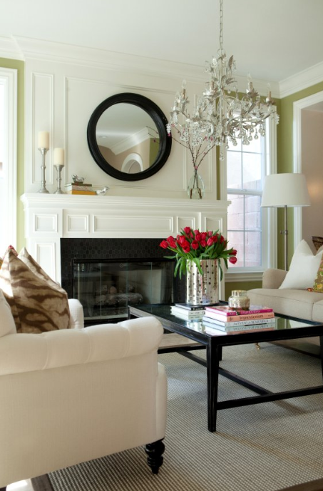 Black Convex Mirror Transitional Living Room Belmont Design Group