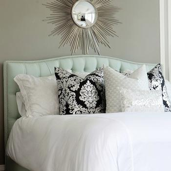 Blue Tufted Headboard, Contemporary, bedroom, Sherwin Williams Pavestone, Belmont Design Group