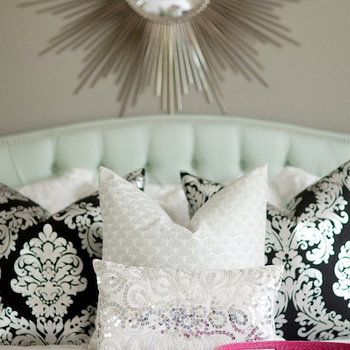 Damask Pillows, Transitional, bedroom, Sherwin Williams Pavestone, Belmont Design Group