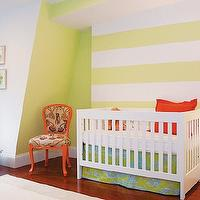Shelter Interior Design - nurseries - gender neutral, white, yellow, striped, walls, white, modern, crib, blue, green, crib, bedding, orange, pillow, orange, accent chair, built-in, window seat, white, roman shades, green, ribbon trim, striped nursery, striped nursery walls, yellow striped walls, yellow striped nursery, yellow striped nursery walls, white and yellow striped walls, white and yellow striped nursery, white and yellow striped nursery walls,