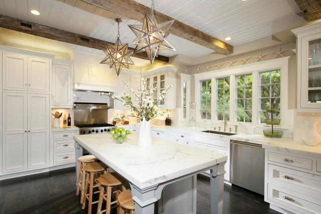 Kitchen With Beadboard Ceiling Cottage Kitchen