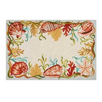 Natual Shells Seaside Hooked Rug