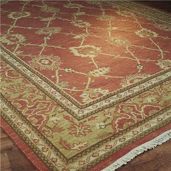 Rugs - Rust and Gold Trellis Soumak Rug - Shades of Light - rust, gold, soumak, rug