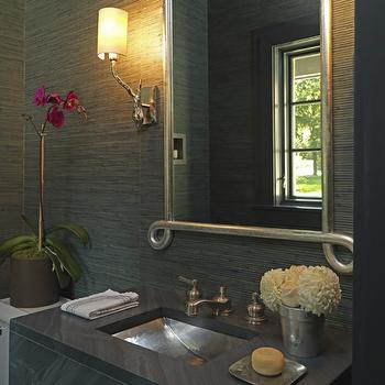 LDa Architects - bathrooms - gray bathrooms, grass grasscloth, gray grasscloth wallpaper, scroll mirror, concrete sinks, hammered sink, hammered metal sink,