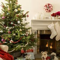 miscellaneous - fireplace. mantle, Christmas, stockings,  Festive scene with tree in bucket