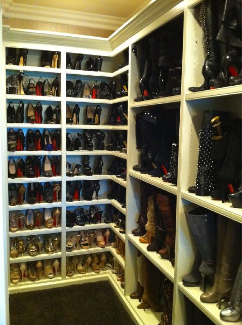 closets - Khloe Kardashian, shoe, closet, built-in, shoe, boot, shelves,  Khloe Kardashian's Shoe Cloet  Amazing shoe closet with built-in shelves.