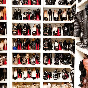 Elle Decor - closets - Khloe Kardashian, shoe cabinet, shoe cabinets, shoe shelves, shelves for shoes, shoe storage, shoe closet, closet shoe shelves, shoe racks, closet shoe racks, khloe kardashian closet, khloe kardashian shoe closet,