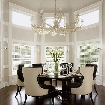 Carlos Miranda Design - dining rooms - coral chandelier, ivory chandelier, round dining table, cream dining chairs,  Chic dining room design