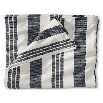 Bedding - Bold Stripe Blanket from Lands' End - gray, striped, blanket