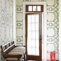 Atlanta Homes & Lifestyles - entrances/foyers - foyer wallpaper, wallpaper for foyer, geometric wallpaper, geometric wallpaper, transom window, front door with transom window, white and gray wallpaper, white and gray geometric wallpaper,