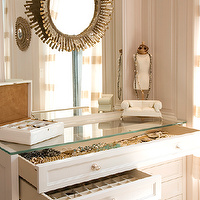Melanie Fascitelli - closets - sunburst, mirror, jewelry, cabinet,  Chic closet vanity design with sunburst mirror and jewelry cabinet.
