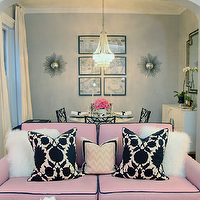 Erin Gates Design - living rooms: pink, sofa, black, piping, white, shag, pillows, pink, black, flock, pillows, pink, chevron, zigzag, pillow, jute, rug, gray, walls,