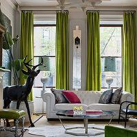 living rooms - sofa, pillows, windows, curtains, deer, green, pink, white, chartreuse, art, chair, mantel, fireplace, coffee table, lamps, green curtains, green drapes, green window panels, green silk drapes, green silk curtains, green silk window panels,