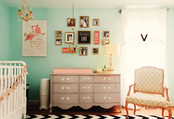 nurseries - gender neutral turquoise blue walls gray dresser changing table eclectic art gallery white black chevron rug white Jenny Lind crib monogrammed window panel